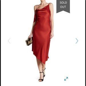 Allen Schwartz rust asymmetrical midi dress NWT